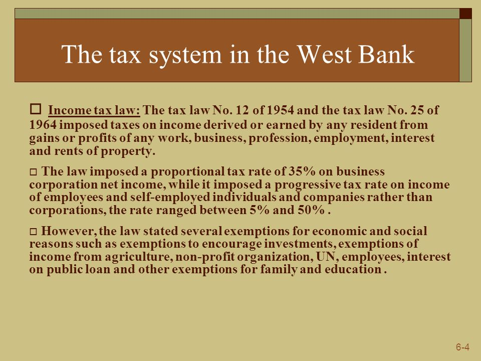 6-5 The tax system in the West Bank  Indirect taxes: It include goods locally produced such as salt, oil, cement, cigarettes, alcoholic beverages and others according to Jordan law of customs and excise duties.