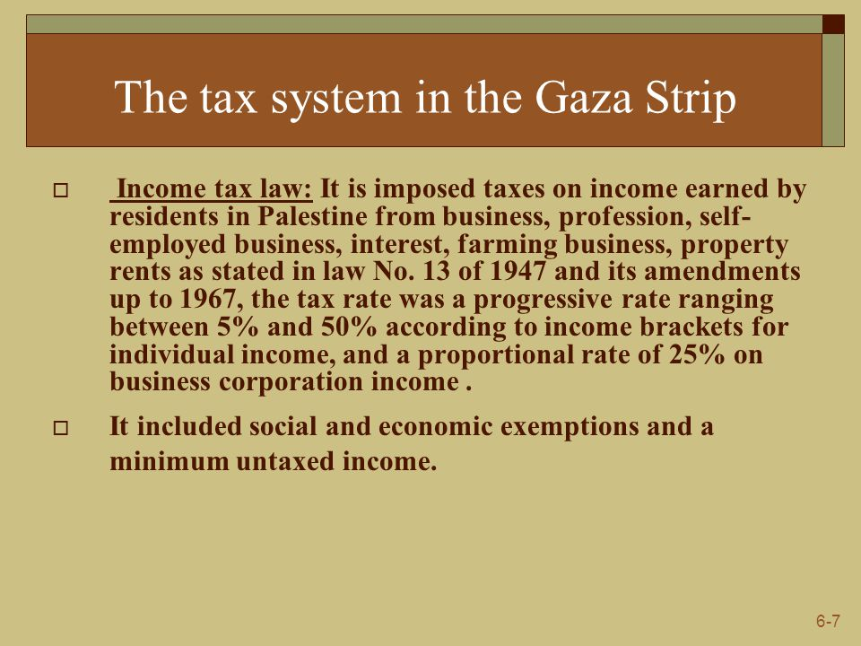 6-7 The tax system in the Gaza Strip  Income tax law: It is imposed taxes on income earned by residents in Palestine from business, profession, self- employed business, interest, farming business, property rents as stated in law No.