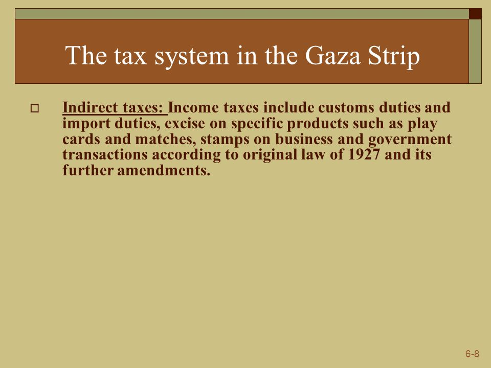 6-9 The tax system in the Gaza Strip  Local tax laws imposed by municipal and village councils which include: (1) Business and profession licenses imposed on business or profession firms at a maximum rate of $ 60 annually, according to the size of the firm.