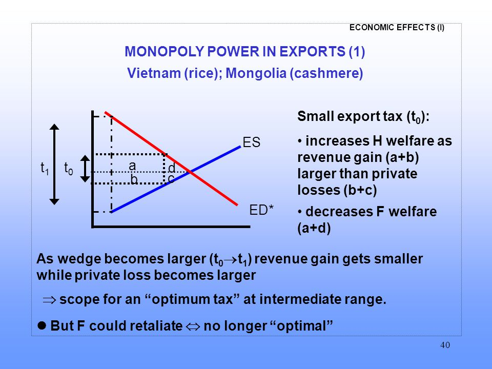 ECONOMIC EFFECTS (I) 40 MONOPOLY POWER IN EXPORTS (1) Vietnam (rice); Mongolia (cashmere) Small export tax (t 0 ): increases H welfare as revenue gain (a+b) larger than private losses (b+c) decreases F welfare (a+d) a b c ED* ES d t0t0 t1t1 As wedge becomes larger (t 0  t 1 ) revenue gain gets smaller while private loss becomes larger  scope for an optimum tax at intermediate range.