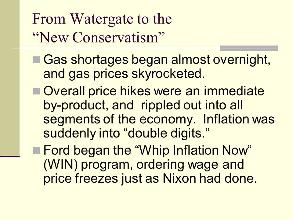 From Watergate to the New Conservatism Gas shortages began almost overnight, and gas prices skyrocketed.