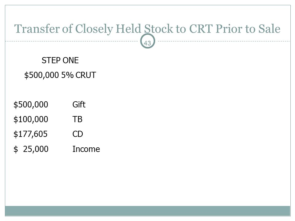 43 Transfer of Closely Held Stock to CRT Prior to Sale STEP ONE $500,000 5% CRUT $500,000Gift $100,000TB $177,605CD $ 25,000Income