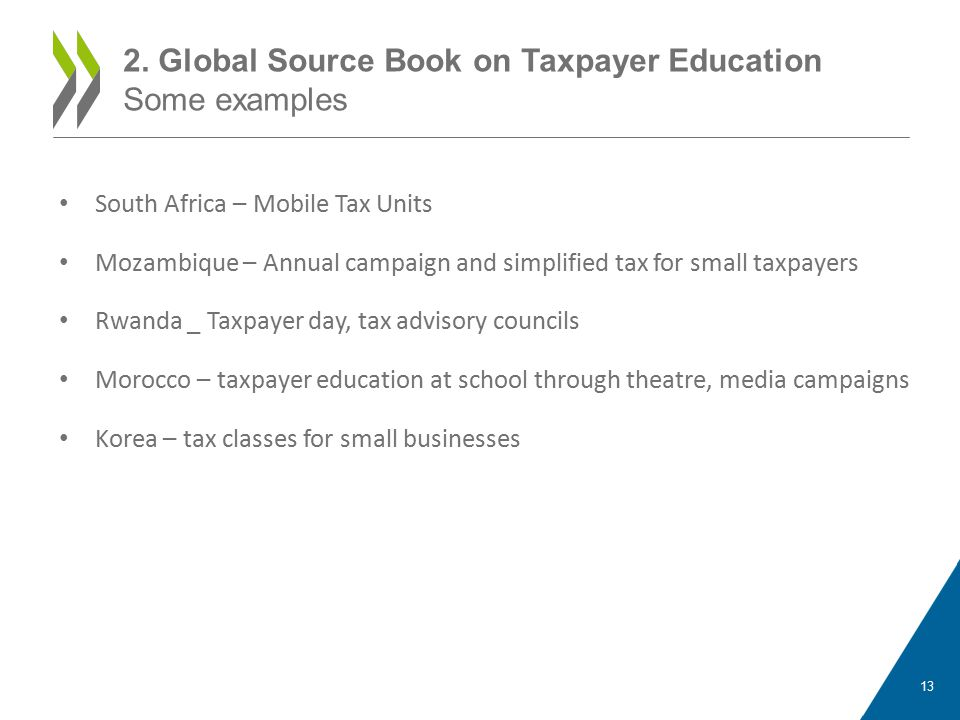 South Africa – Mobile Tax Units Mozambique – Annual campaign and simplified tax for small taxpayers Rwanda _ Taxpayer day, tax advisory councils Morocco – taxpayer education at school through theatre, media campaigns Korea – tax classes for small businesses 2.
