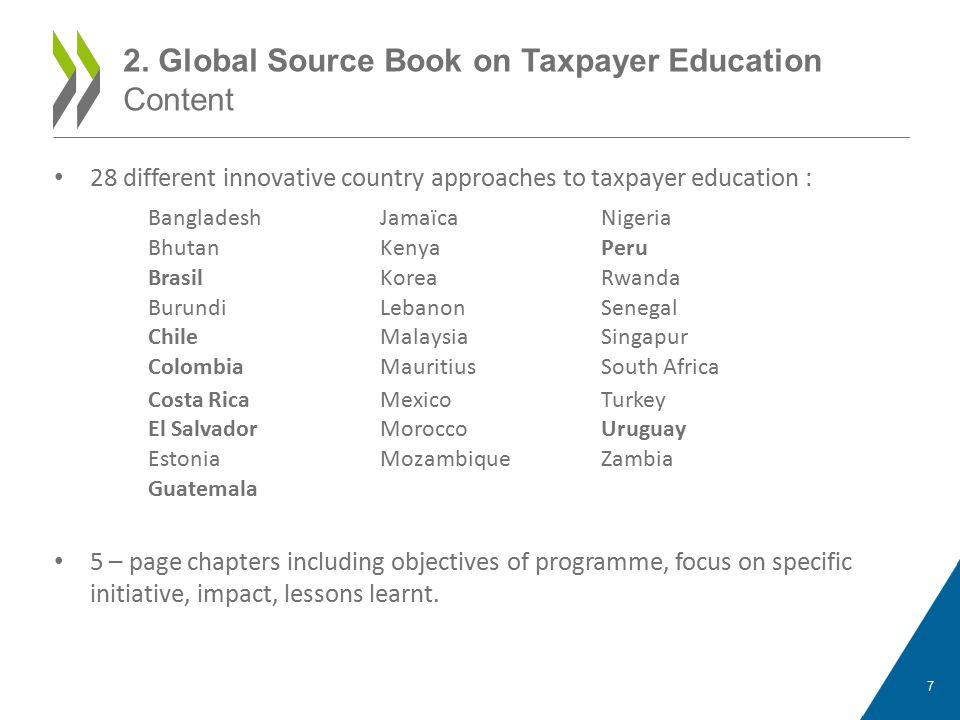 28 different innovative country approaches to taxpayer education : 5 – page chapters including objectives of programme, focus on specific initiative, impact, lessons learnt.