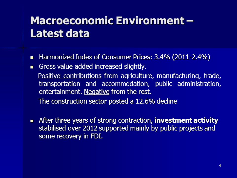 4 Macroeconomic Environment – Latest data Harmonized Index of Consumer Prices: 3.4% (2011-2.4%) Harmonized Index of Consumer Prices: 3.4% (2011-2.4%) Gross value added increased slightly.
