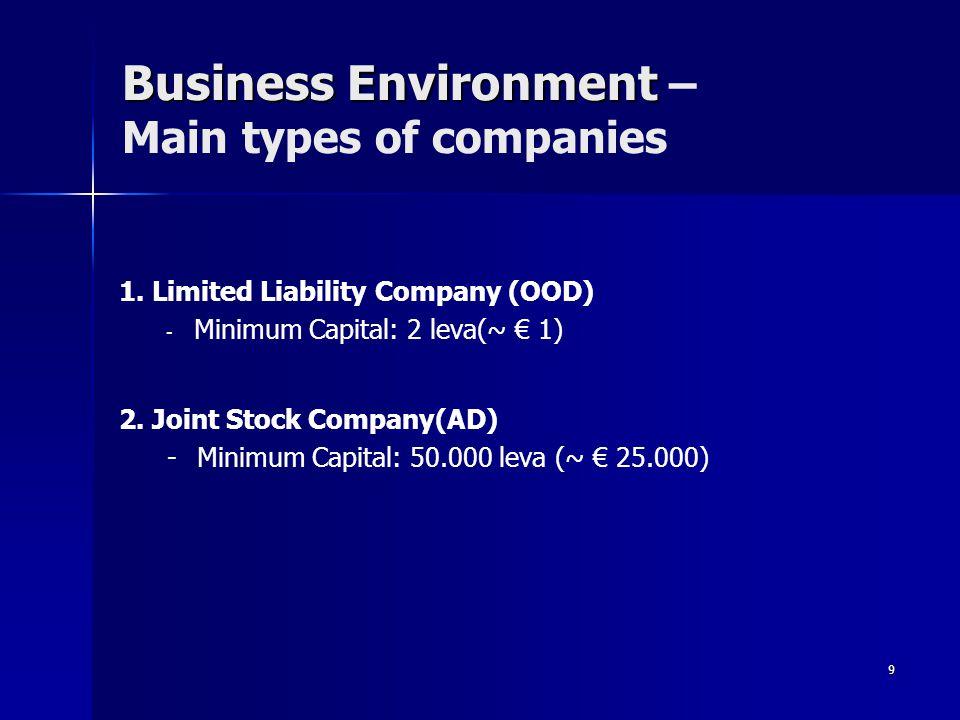 9 Business Environment Business Environment – Main types of companies 1.
