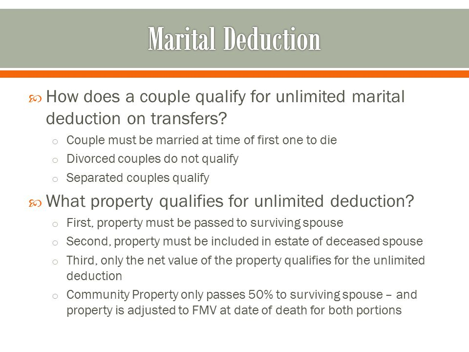  How does a couple qualify for unlimited marital deduction on transfers.