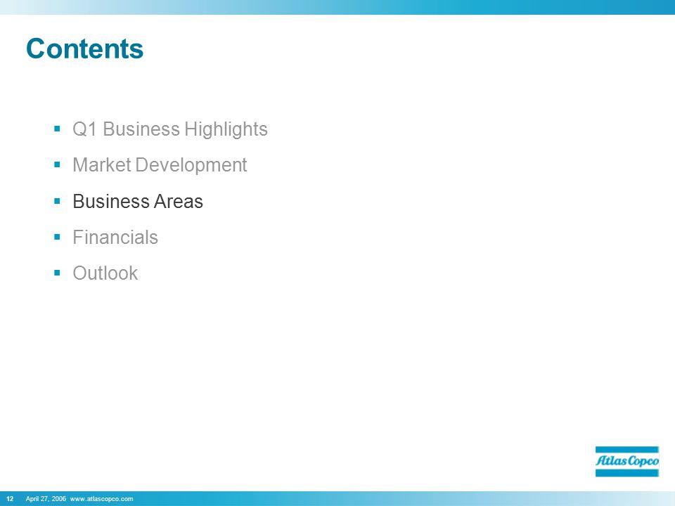 April 27, 2006 www.atlascopco.com12 Contents  Q1 Business Highlights  Market Development  Business Areas  Financials  Outlook