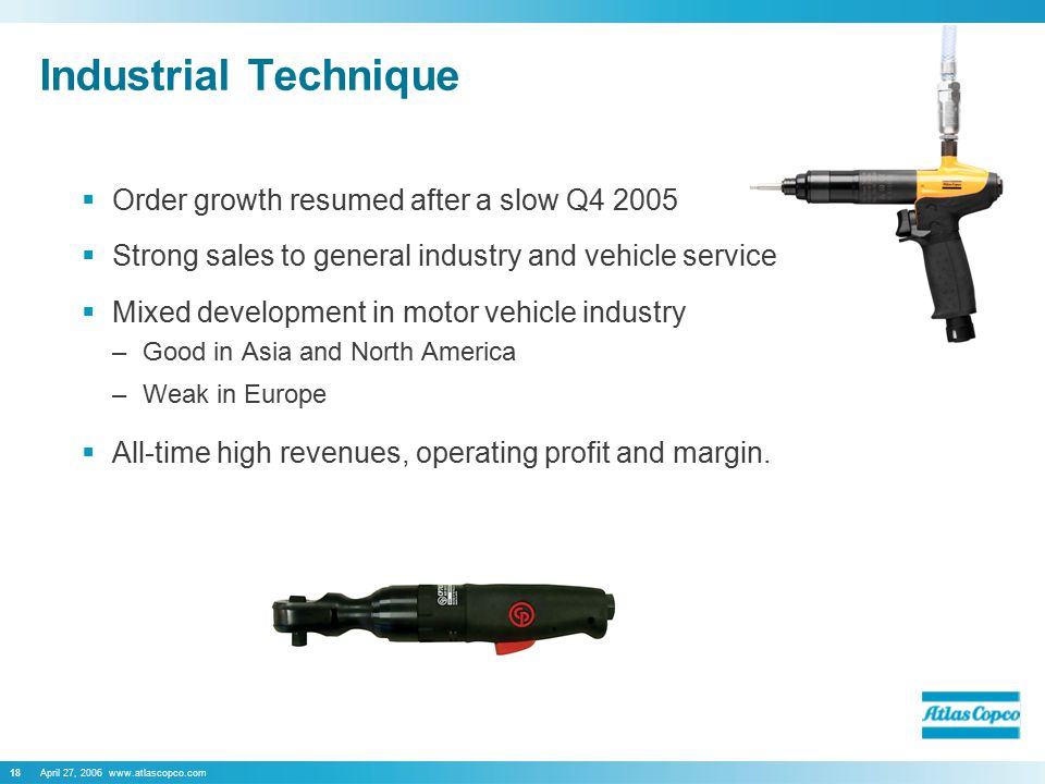 April 27, 2006 www.atlascopco.com18 Industrial Technique  Order growth resumed after a slow Q4 2005  Strong sales to general industry and vehicle service  Mixed development in motor vehicle industry –Good in Asia and North America –Weak in Europe  All-time high revenues, operating profit and margin.