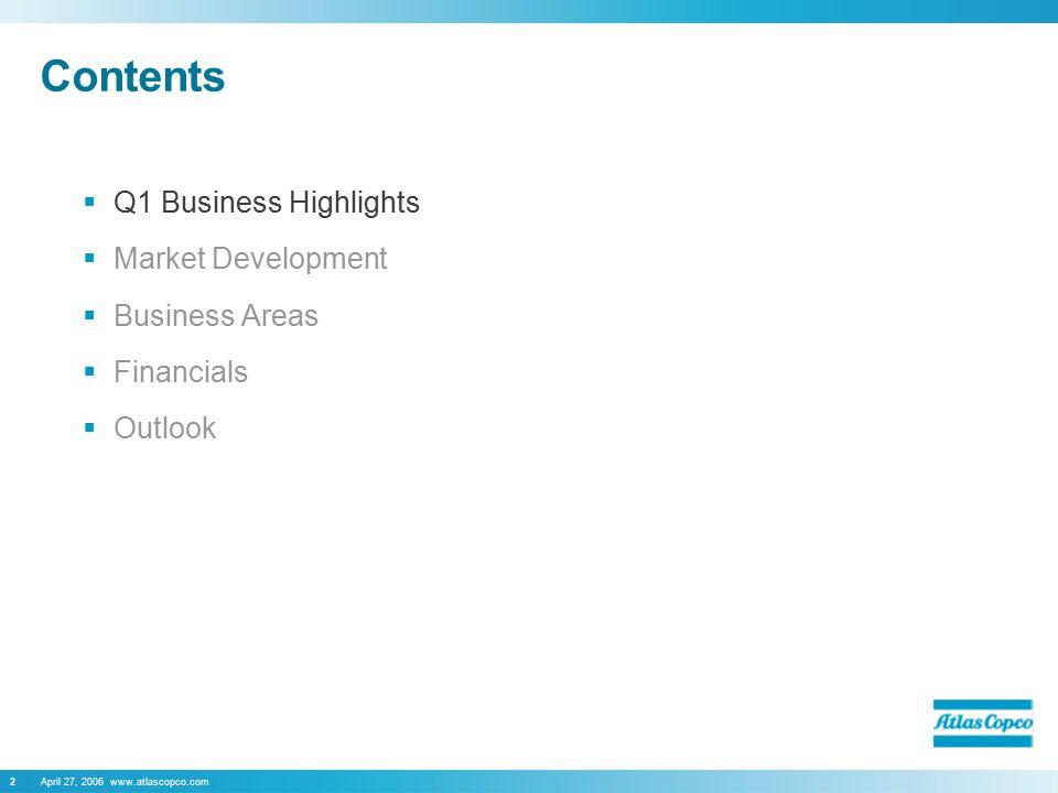 April 27, 2006 www.atlascopco.com2 Contents  Q1 Business Highlights  Market Development  Business Areas  Financials  Outlook