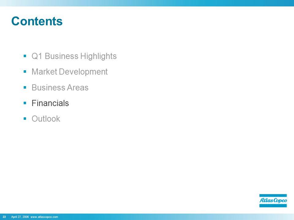 April 27, 2006 www.atlascopco.com22 Contents  Q1 Business Highlights  Market Development  Business Areas  Financials  Outlook
