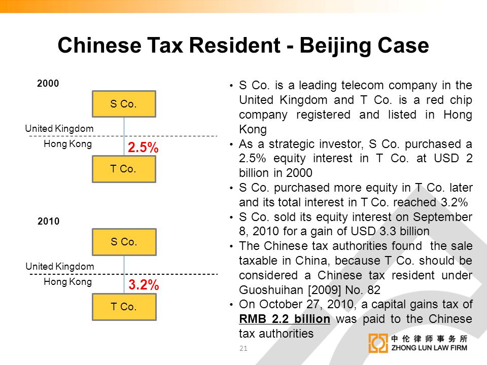 Chinese Tax Resident - Beijing Case S Co. is a leading telecom company in the United Kingdom and T Co. is a red chip company registered and listed in