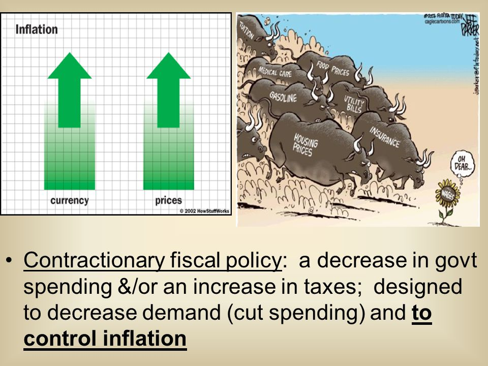 Contractionary fiscal policy: a decrease in govt spending &/or an increase in taxes; designed to decrease demand (cut spending) and to control inflation