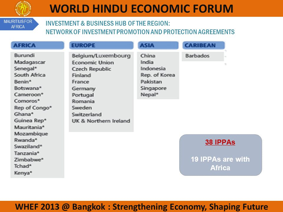 WHEF 2013 @ Bangkok : Strengthening Economy, Shaping Future WORLD HINDU ECONOMIC FORUM INVESTMENT & BUSINESS HUB OF THE REGION: NETWORK OF INVESTMENT PROMOTION AND PROTECTION AGREEMENTS 38 IPPAs 19 IPPAs are with Africa MAURITIUS FOR AFRICA