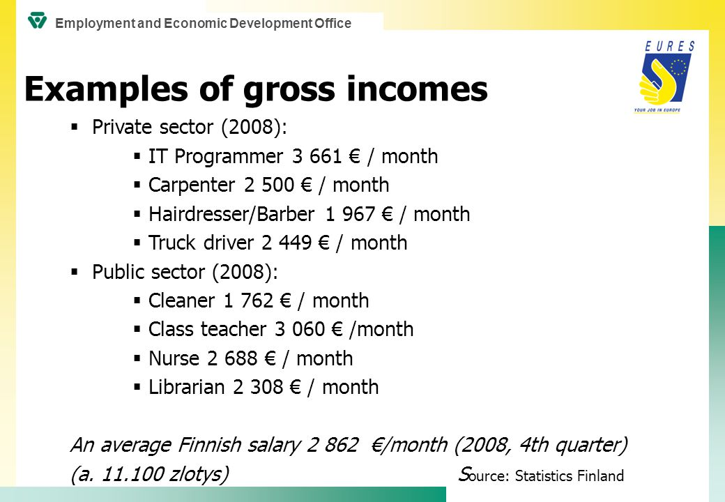  Private sector (2008):  IT Programmer 3 661 € / month  Carpenter 2 500 € / month  Hairdresser/Barber 1 967 € / month  Truck driver 2 449 € / month  Public sector (2008):  Cleaner 1 762 € / month  Class teacher 3 060 € /month  Nurse 2 688 € / month  Librarian 2 308 € / month An average Finnish salary 2 862 €/month (2008, 4th quarter) (a.
