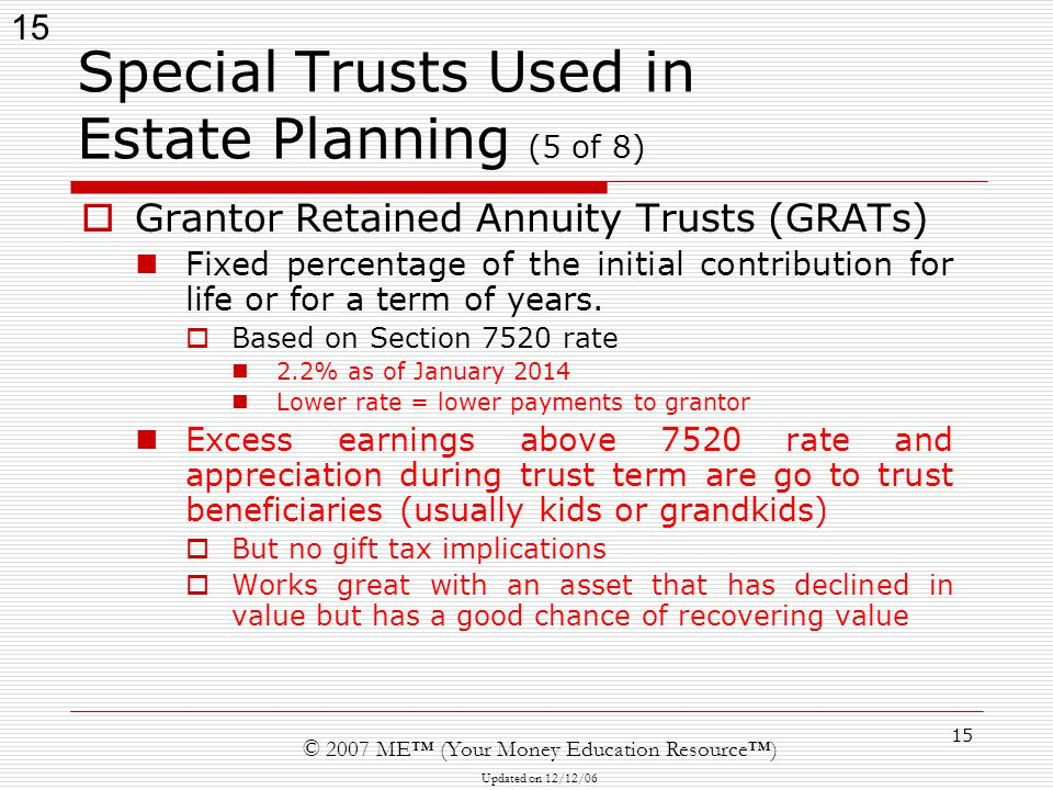 15 © 2007 ME™ (Your Money Education Resource™) Updated on 12/12/06 15 Special Trusts Used in Estate Planning (5 of 8)  Grantor Retained Annuity Trusts (GRATs) Fixed percentage of the initial contribution for life or for a term of years.