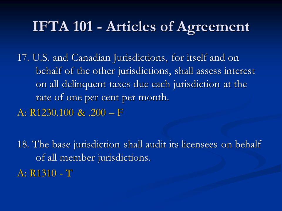 IFTA 101 - Articles of Agreement 17. U.S.