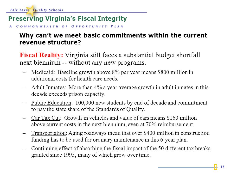  13 Fiscal Reality: Virginia still faces a substantial budget shortfall next biennium -- without any new programs.