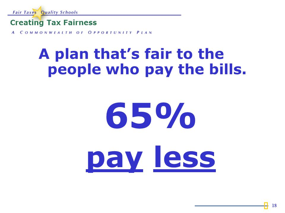  18 Creating Tax Fairness A plan that's fair to the people who pay the bills. 65% pay less