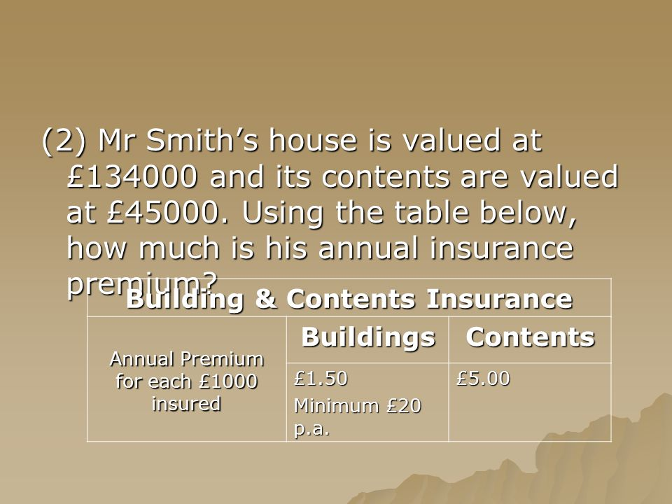 (2) Mr Smith's house is valued at £134000 and its contents are valued at £45000. Using the table below, how much is his annual insurance premium? Buil