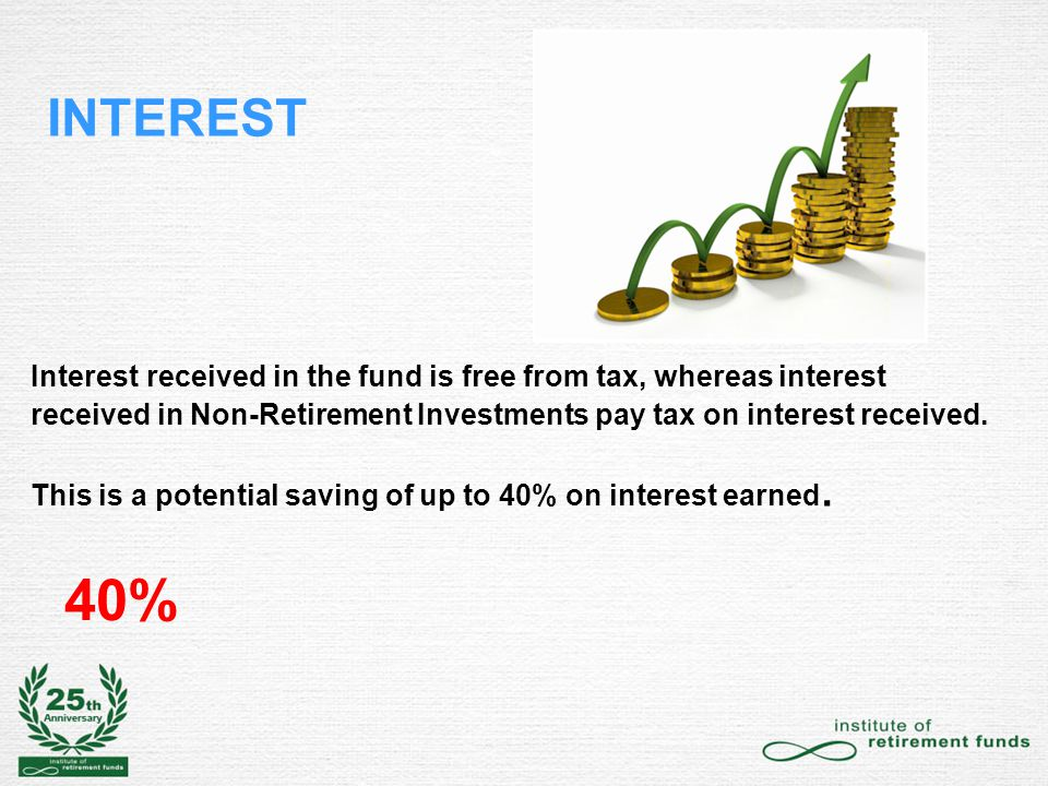 INTEREST Interest received in the fund is free from tax, whereas interest received in Non-Retirement Investments pay tax on interest received.