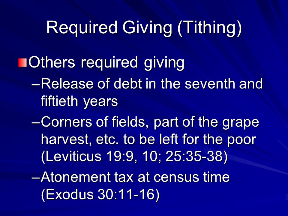 Required Giving (Tithing) Others required giving –Release of debt in the seventh and fiftieth years –Corners of fields, part of the grape harvest, etc.