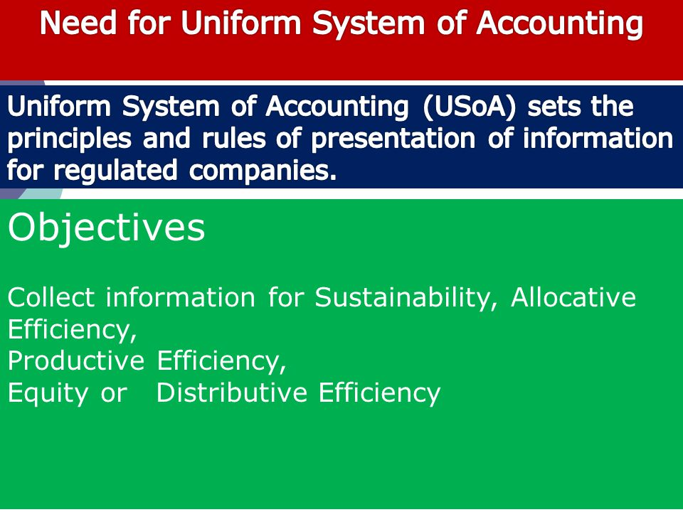 Objectives Collect information for Sustainability, Allocative Efficiency, Productive Efficiency, Equity or Distributive Efficiency