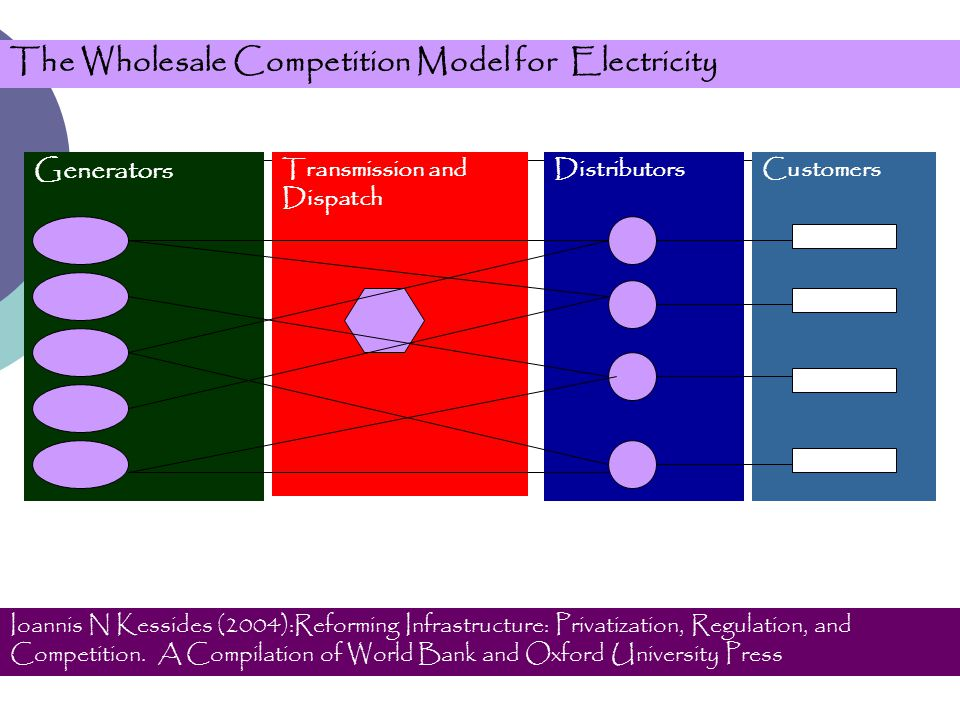 The Wholesale Competition Model for Electricity Generators Transmission and Dispatch DistributorsCustomers Ioannis N Kessides (2004):Reforming Infrastructure: Privatization, Regulation, and Competition.