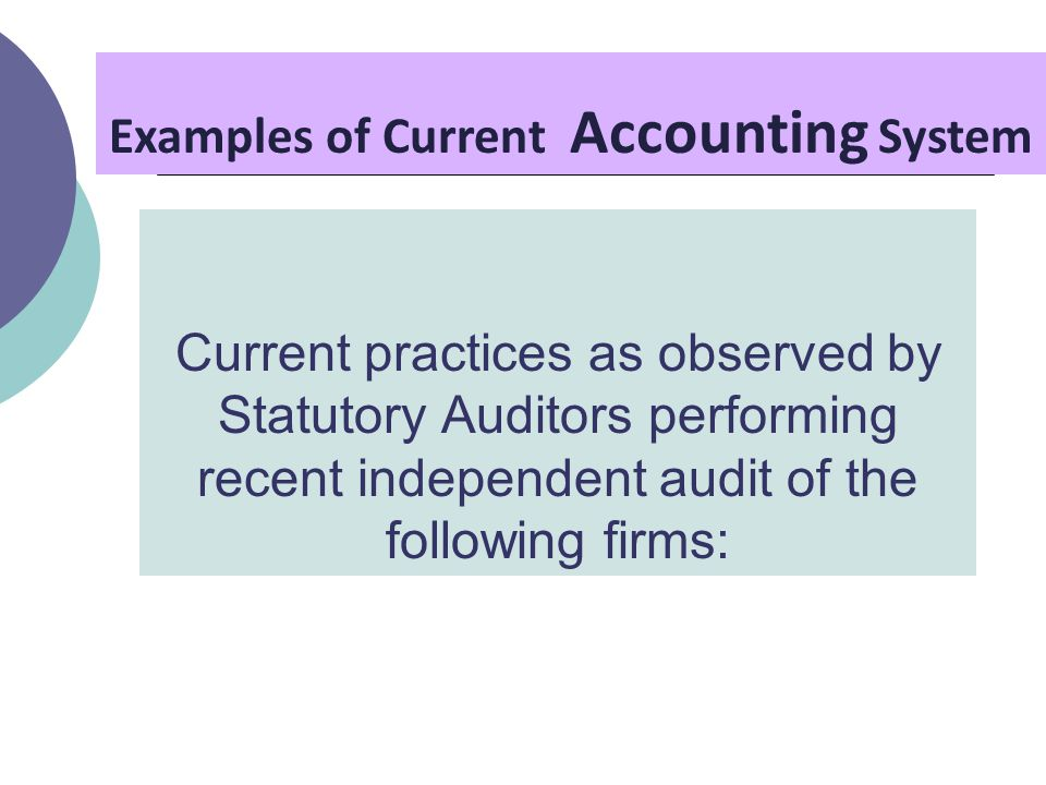 Current practices as observed by Statutory Auditors performing recent independent audit of the following firms: Examples of Current Accounting System