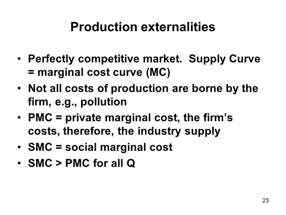 23 Production externalities Perfectly competitive market.