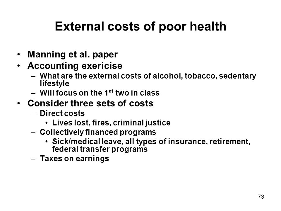 73 External costs of poor health Manning et al. paper Accounting exericise –What are the external costs of alcohol, tobacco, sedentary lifestyle –Will