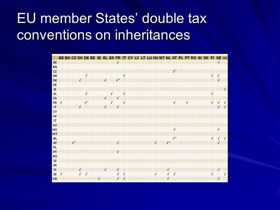 EU member States' double tax conventions on inheritances