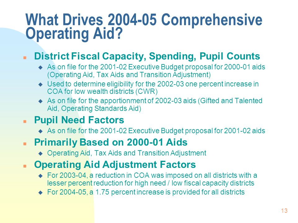 13 What Drives 2004-05 Comprehensive Operating Aid.