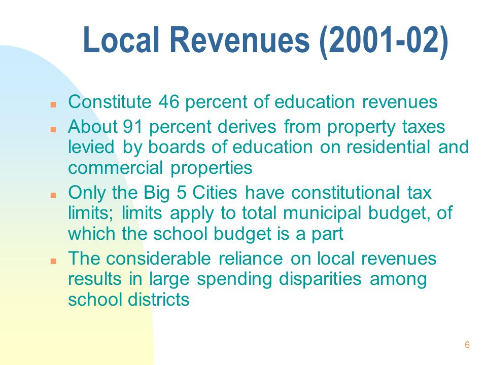 6 Local Revenues (2001-02) n Constitute 46 percent of education revenues n About 91 percent derives from property taxes levied by boards of education on residential and commercial properties n Only the Big 5 Cities have constitutional tax limits; limits apply to total municipal budget, of which the school budget is a part n The considerable reliance on local revenues results in large spending disparities among school districts
