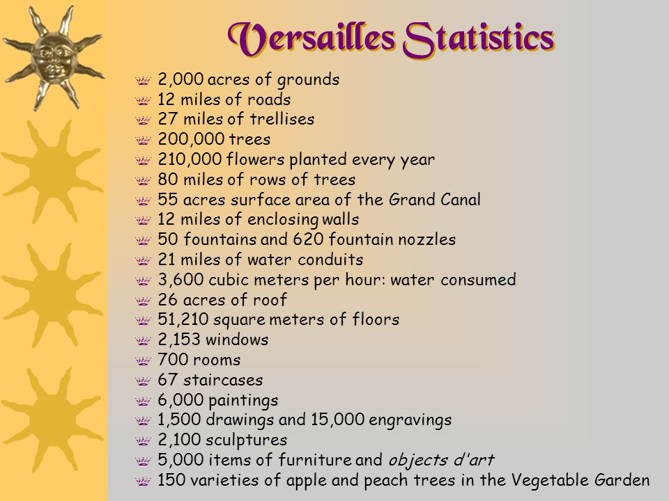Versailles Statistics f 2,000 acres of grounds f 12 miles of roads f 27 miles of trellises f 200,000 trees f 210,000 flowers planted every year f 80 m