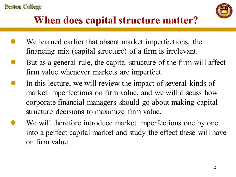 23 Capital structure and financial distress costs Expected cashflow to debt holders in levered firm = 500,000(0.1) + 300,000(0.9) = 320,000 Value of debt in the levered firm, D L = 320,000/0.1 = 3,200,000 Value of levered firm, V L = E L + D L = 500,000 + 3200,000 = 3,700,000 Thus value of unlevered firm = value of levered firm, so that firm value is unaffected so long as bankruptcy is costless.