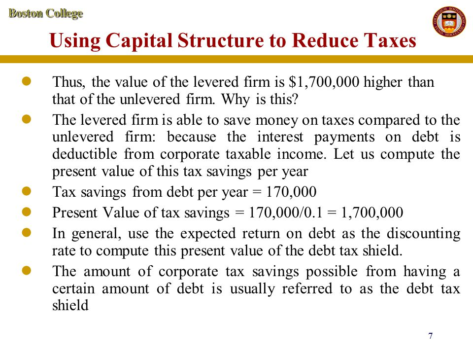 8 8 Using Capital Structure to Reduce Taxes Value of the Levered Firm V L = Value of the Unlevered firm V U + Present Value of Debt Tax shield for the Levered Firm The above result is a general result, applicable to all kinds of debt (ie., not only to the specific kind of debt we have assumed in the above example).