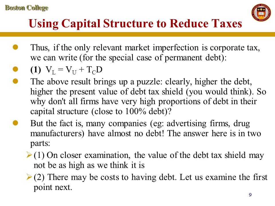 30 Example: Wallace Corporation a) Taking into account bankruptcy costs as well as the effect of debt tax shields, what is the level of debt that the company should choose (among the possible levels given above) to maximize firm value.