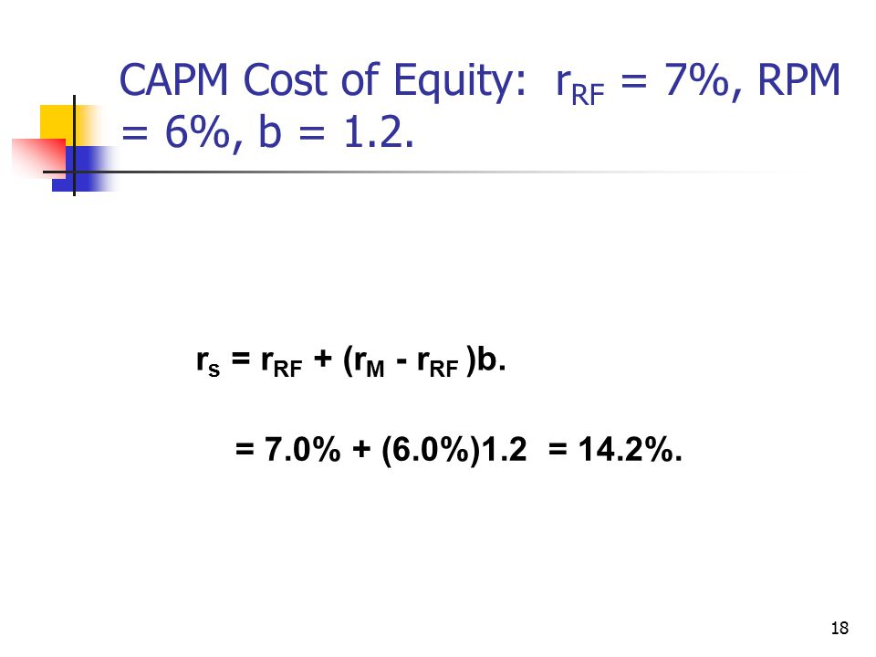 18 CAPM Cost of Equity: r RF = 7%, RPM = 6%, b = 1.2. r s = r RF + (r M - r RF )b. = 7.0% + (6.0%)1.2 = 14.2%.