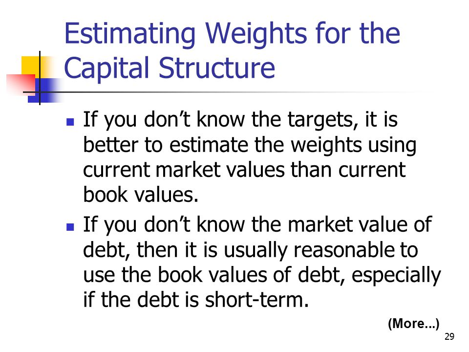 29 Estimating Weights for the Capital Structure If you don't know the targets, it is better to estimate the weights using current market values than c