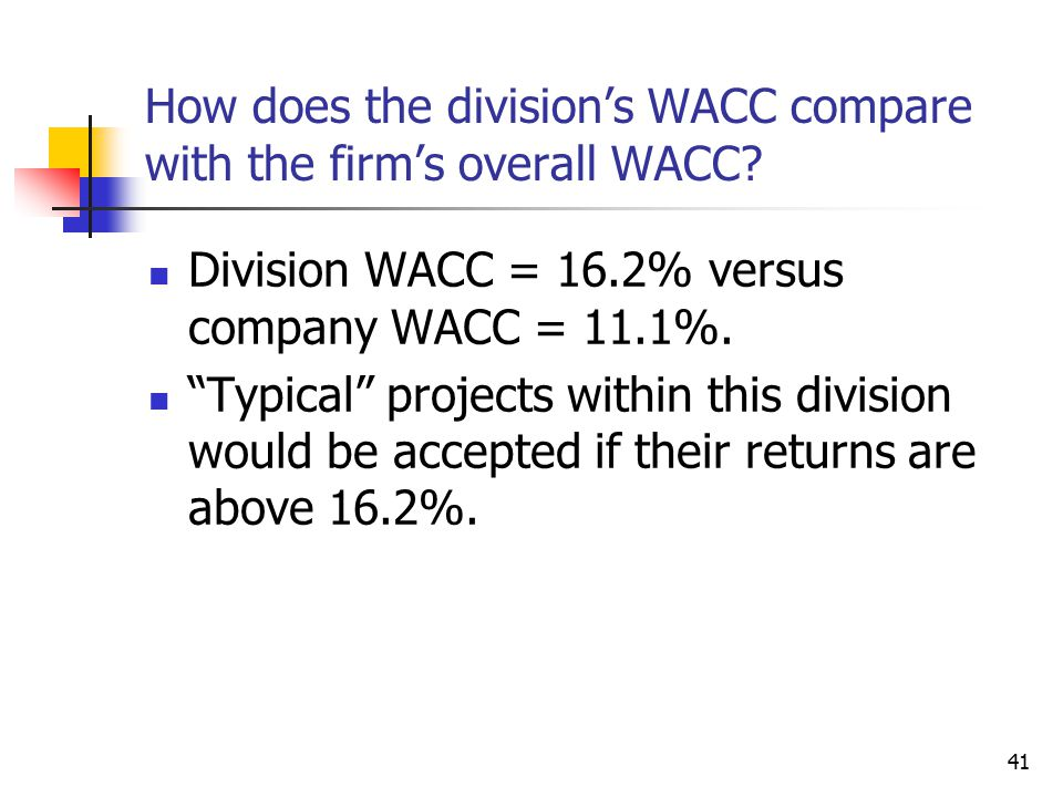 """41 How does the division's WACC compare with the firm's overall WACC? Division WACC = 16.2% versus company WACC = 11.1%. """"Typical"""" projects within thi"""