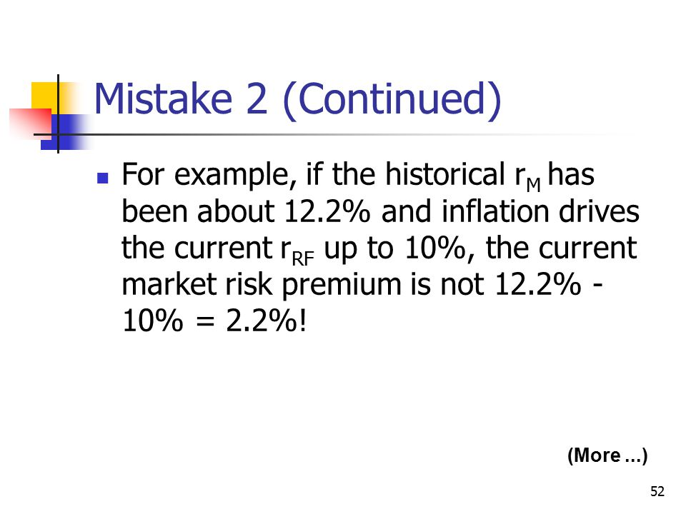 52 Mistake 2 (Continued) For example, if the historical r M has been about 12.2% and inflation drives the current r RF up to 10%, the current market r