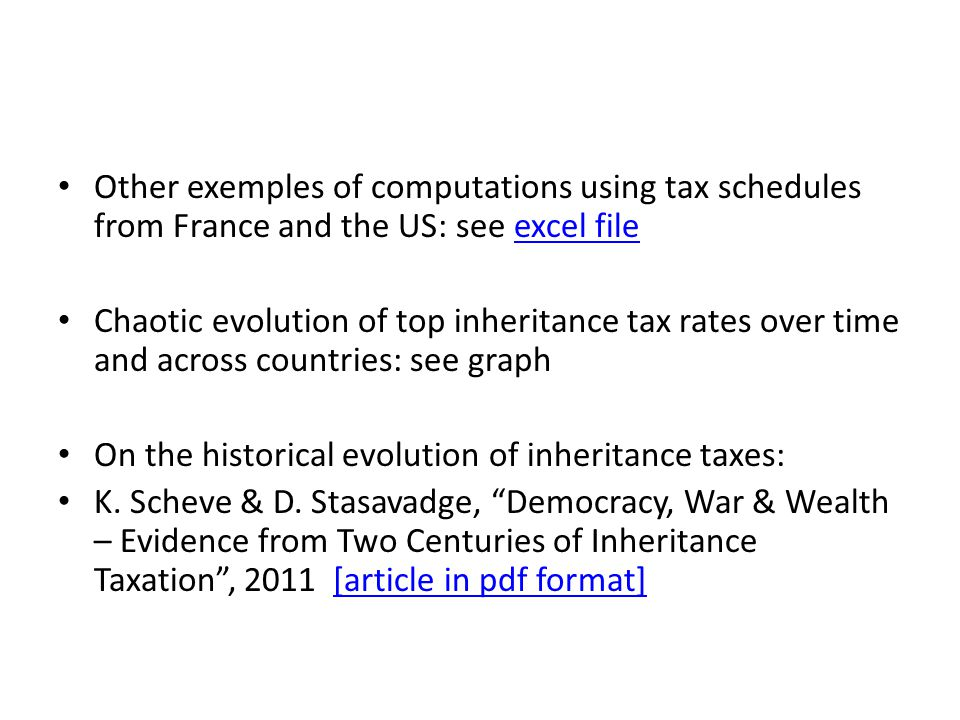 Other exemples of computations using tax schedules from France and the US: see excel fileexcel file Chaotic evolution of top inheritance tax rates ove