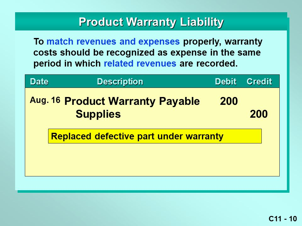 C11 - 10 DateDescriptionDebitCredit DateDescriptionDebitCredit Product Warranty Liability Product Warranty Payable200 Supplies200 Aug.