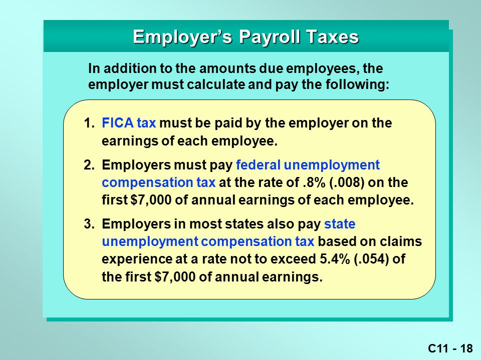 C11 - 18 1. FICA tax must be paid by the employer on the earnings of each employee.