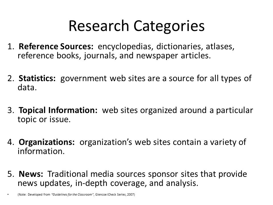 Research Categories 1.