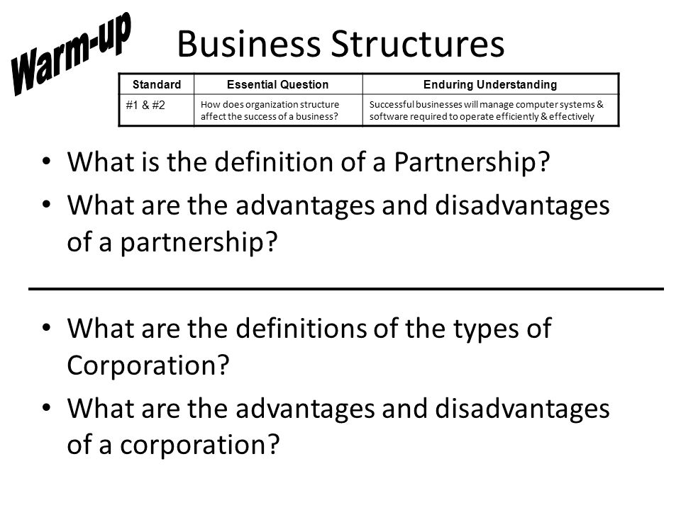 Business Structures What is the definition of a Partnership.