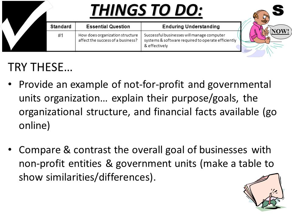 THINGS TO DO: TRY THESE… Provide an example of not-for-profit and governmental units organization… explain their purpose/goals, the organizational structure, and financial facts available (go online) Compare & contrast the overall goal of businesses with non-profit entities & government units (make a table to show similarities/differences).