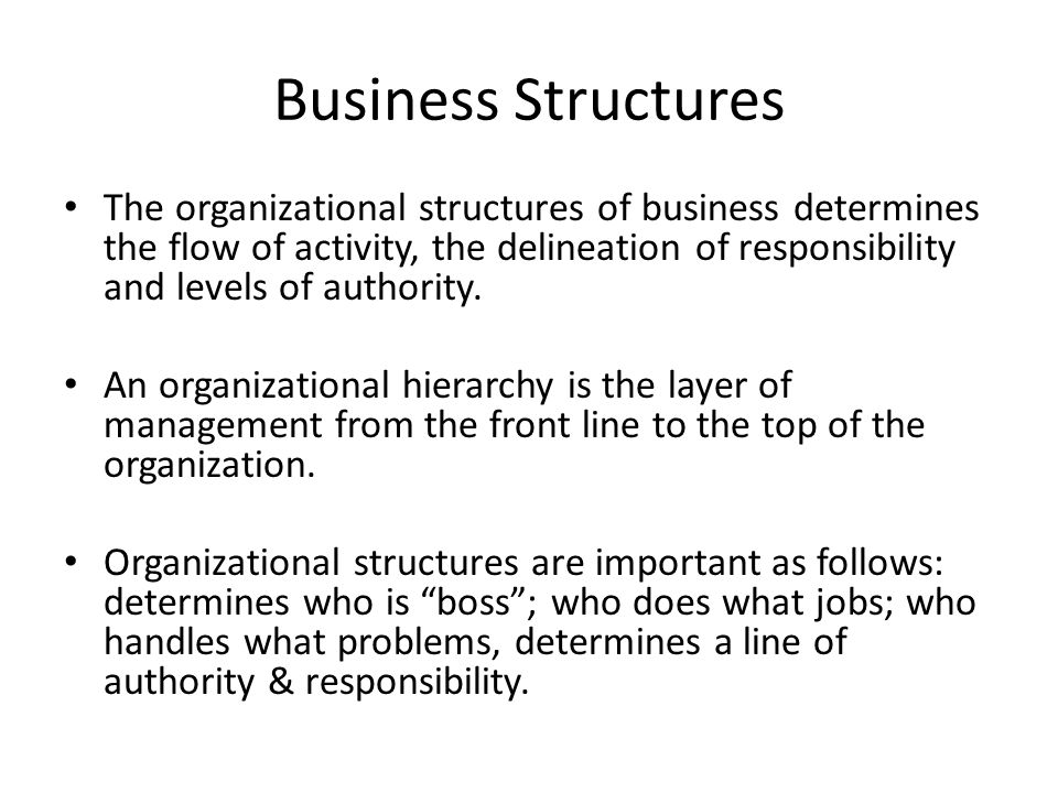 Business Structures The organizational structures of business determines the flow of activity, the delineation of responsibility and levels of authority.