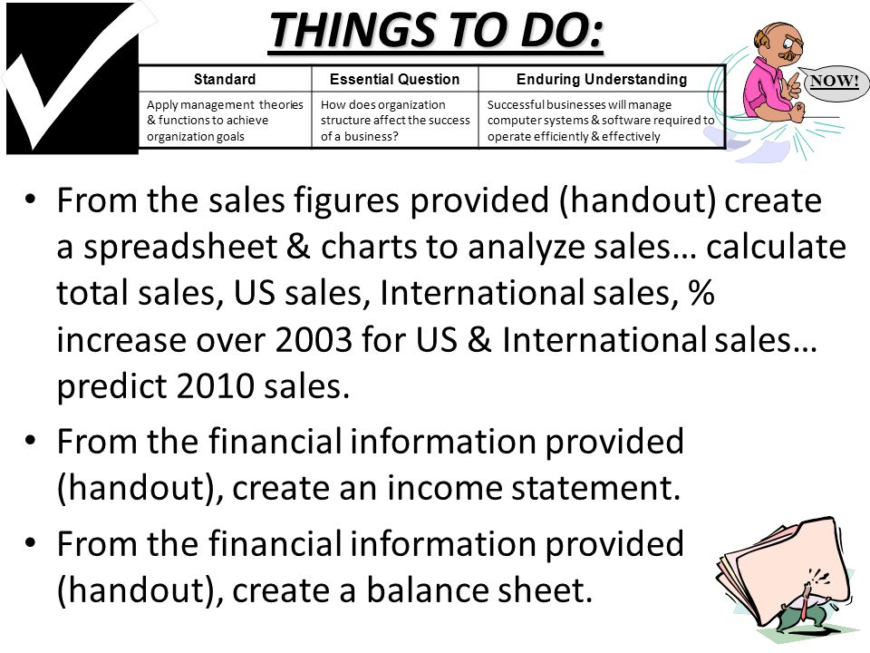 THINGS TO DO: From the sales figures provided (handout) create a spreadsheet & charts to analyze sales… calculate total sales, US sales, International sales, % increase over 2003 for US & International sales… predict 2010 sales.